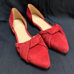 Eileen Fischer d'Orsay Red suede pointed toe